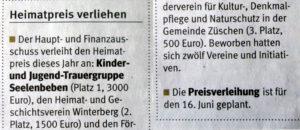 2. Platz beim Heimatpreis!